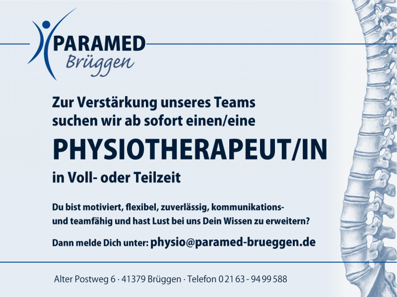 Stellenanzeige Physiotherapeut/in